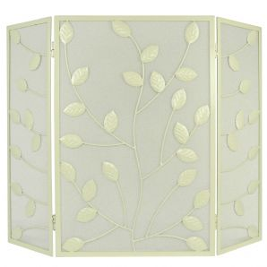 Cream 3 Fold with Leaves Fireguard
